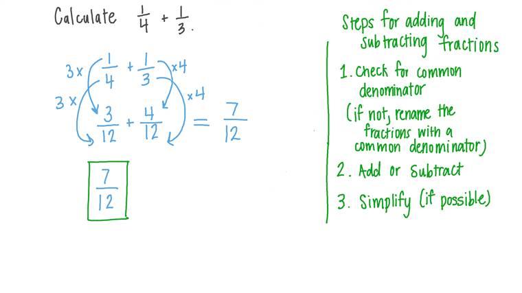 Additionner deux fractions avec différents dénominateurs