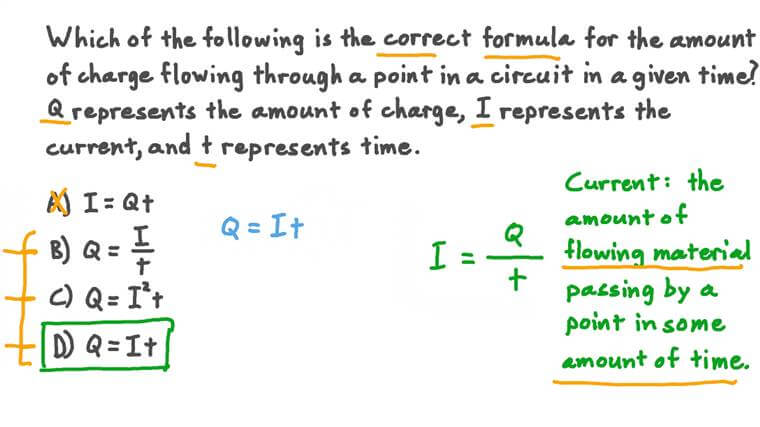 Stating the Formula Relating Charge, Current, and Time