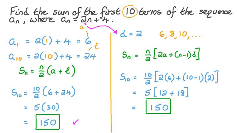 Finding the Sum of an Arithmetic Sequence Given the General Term