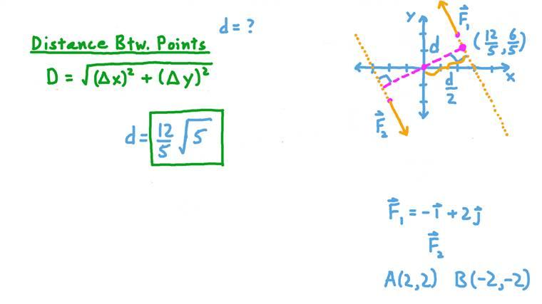 Détermination de la distance perpendiculaire entre deux vecteurs force formant un couple