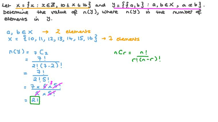 Using Combinations to Solve a Problem Expressed Using Set Notation