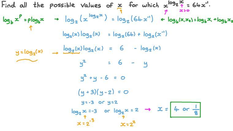 إيجاد مجموعة حل المعادلات الأسية التي تتضمن لوغاريتمات