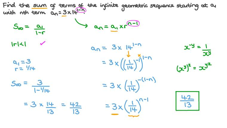 Finding the Sum of an Infinite Number of Terms of a Geometric Sequence given Its General Term