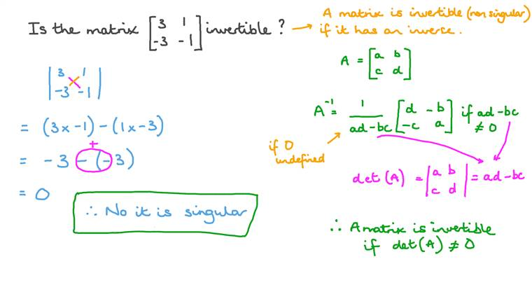 Determinants and Invertibility
