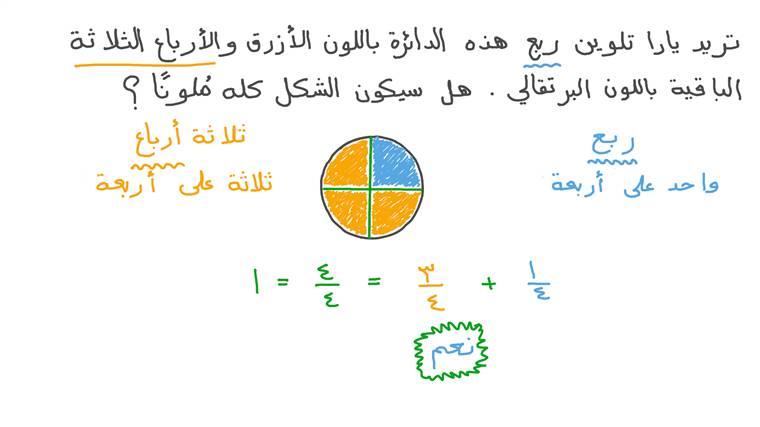 التعرف على عدد الأنصاف أو الأثلاث أو الأرباع في الواحد الصحيح