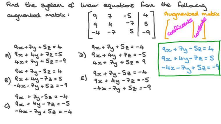 Déterminer un système d'équations à partir d'une matrice augmentée