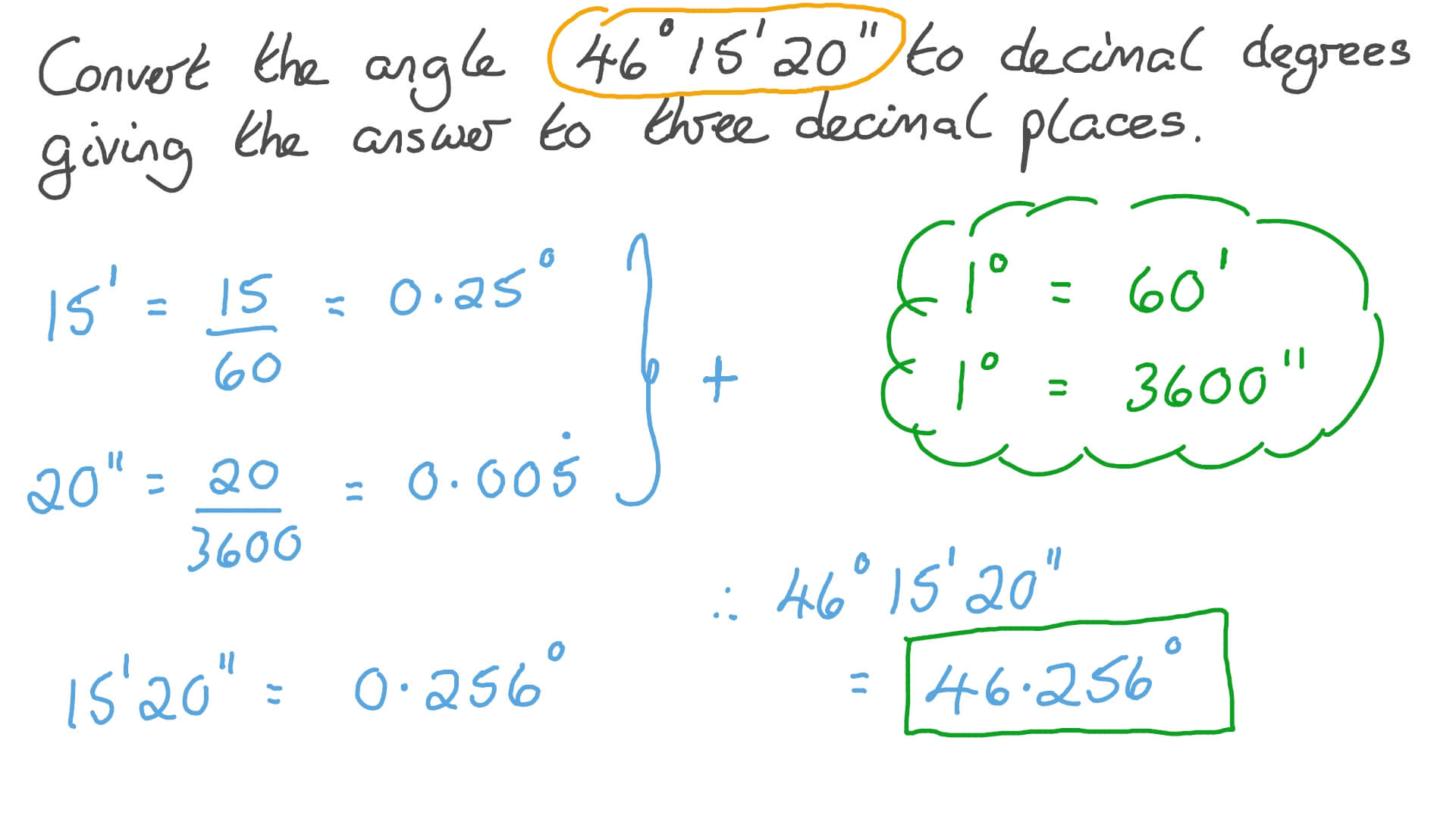 Measure Of An Angle From Degrees