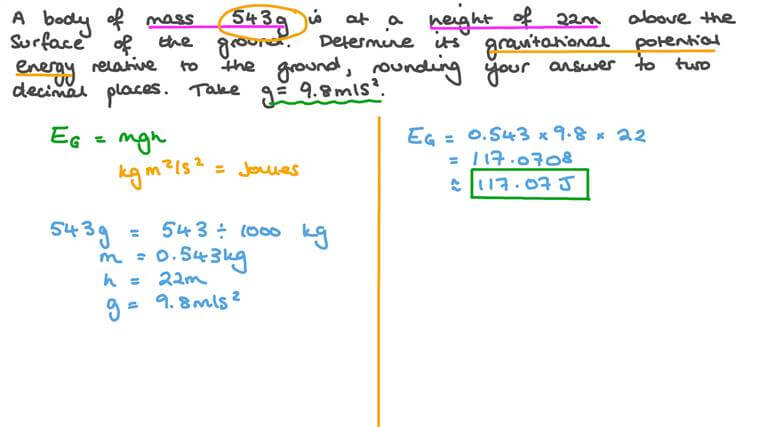 Solving Word Problems Involving Potential Energy Calculating Gravitational Potential Energy of a Body