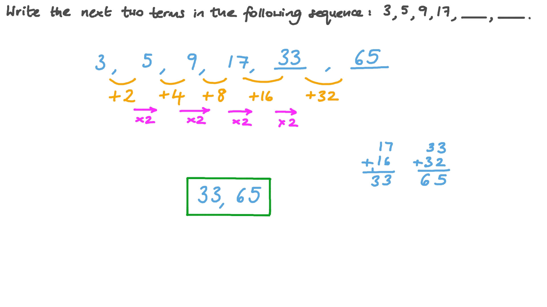 Question Video: Number Patterns with Integer Numbers | Nagwa