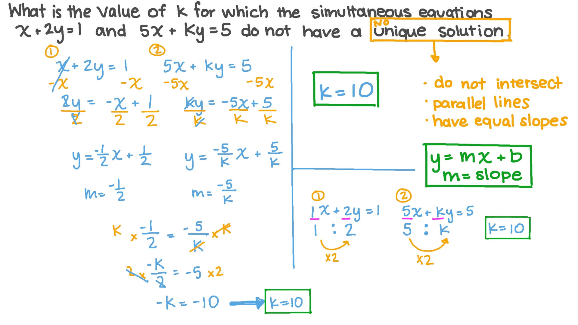 Question Video Finding The Unknown Coefficient In A Given System Of Linear Equations Without A Unique Solution Nagwa