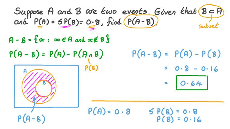 Determining the Probability of Difference between Two Events