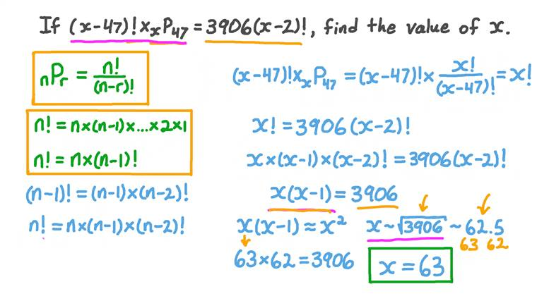 Evaluating Permutations and Factorials to Find Unknowns