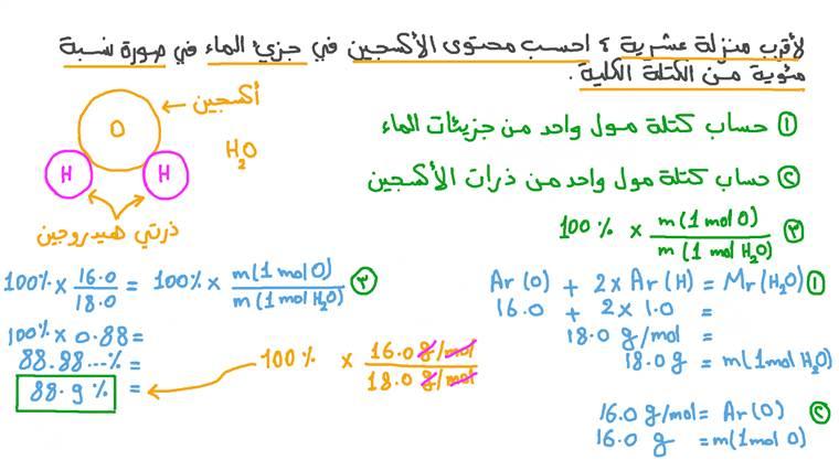 حساب نسبة التركيب المئوية لمركب ثنائي من خلال كتل الصيغة