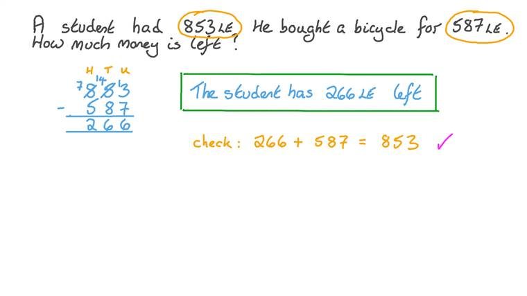 Solving Word Problems Involving the Subtraction of Three-Digit Numbers
