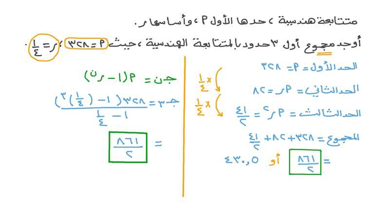 إيجاد مجموع عدد ﻥ من الحدود بمتتابعة هندسية بمعلومية حدها الأول وأساسها