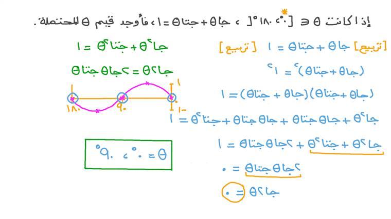 درس حل المعادلات المثلثية باستخدام متطابقات ض ع ف الزاوية نجوى