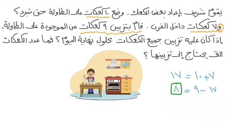 حل مسائل الجمع والطرح الكلامية بإجراء العمليات الحسابية السهلة أولًا
