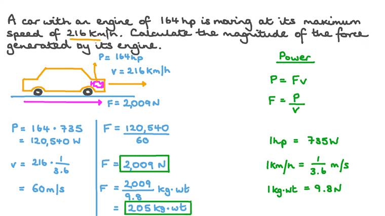Calculating Force Based on Power and Speed