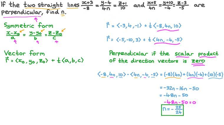 Déterminer des coefficients inconnus des équations de deux droites en trois dimensions sachant qu'elles sont perpendiculaires