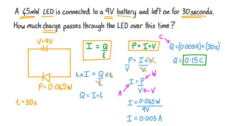 Finding the Charge Moving across an Electrical Component