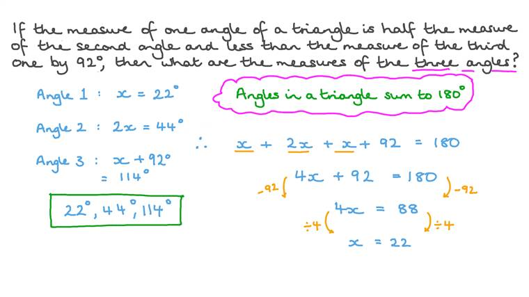 Solving a System of Three Equation Representing the Angles of a Triangle