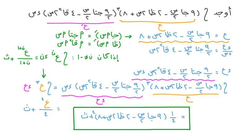 إيجاد تكامل دالة تتضمن دوال مثلثية باستخدام التكامل بالتعويض