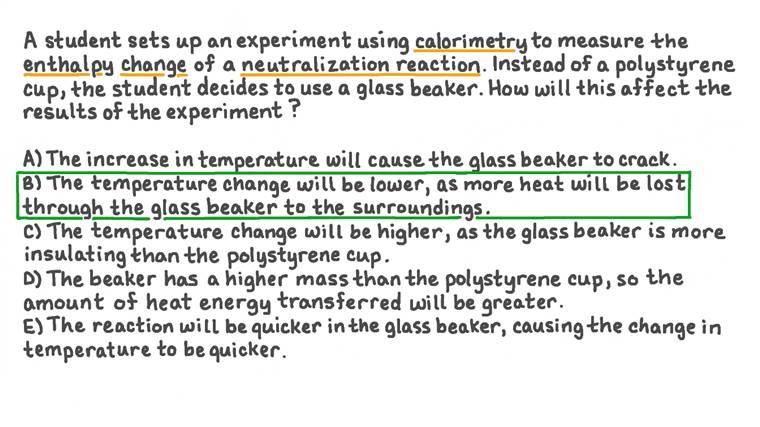 Prédire comment l'utilisation d'un bécher en verre pour mesurer l'enthalpie de neutralisation affectera les résultats expérimentaux