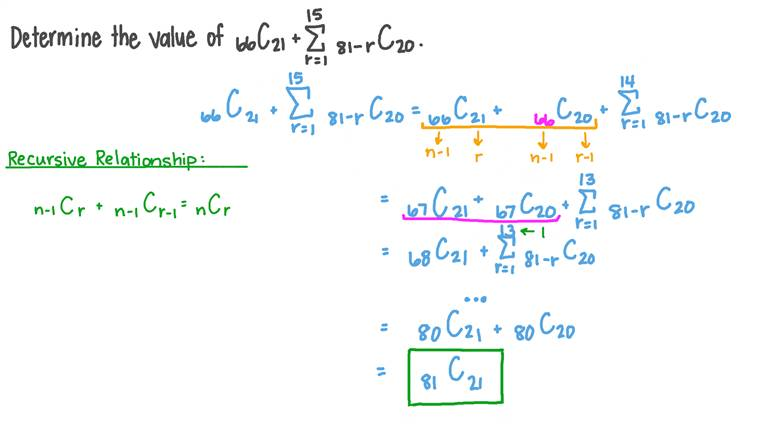 Using the Addition Rule of Combinations to Simplify a Sum of Combinations