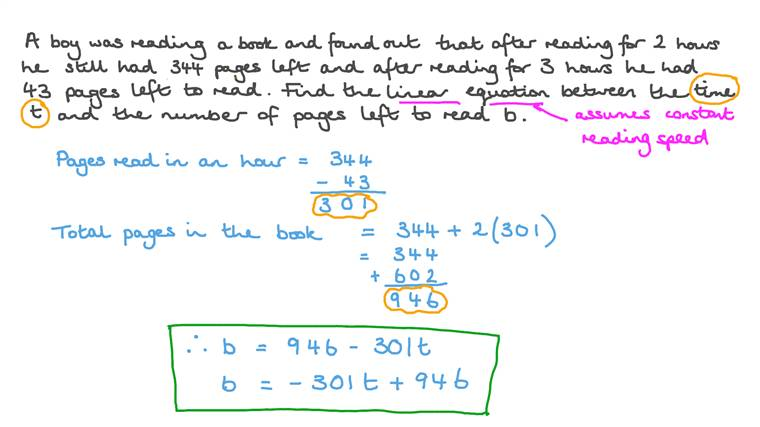 Writing a Linear Equation in a Real-World Context
