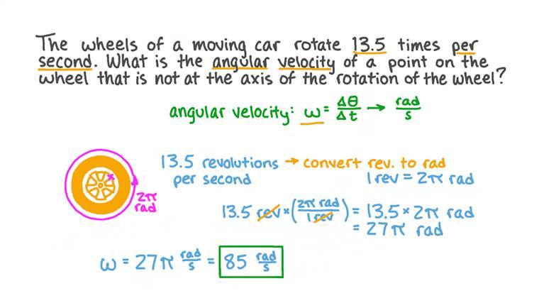 Exprimer la vitesse angulaire en radians par seconde