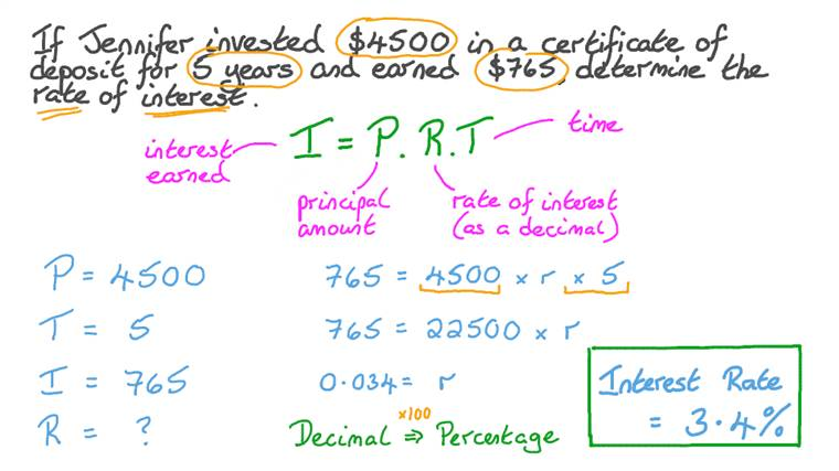 Solving Word Problems by Calculating the Interest Rate on an Investment given the Time Period and Earnings in Interest