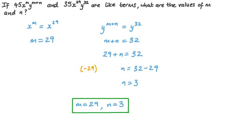 Comparing Two Like Terms to Find the Values of Unknowns