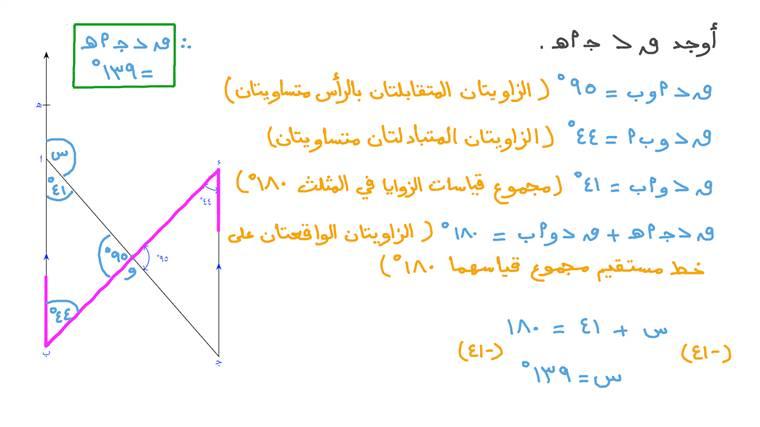 إيجاد قياس زاوية باستخدام العلاقة بين مستقيمين متوازيين بمعلومية قياس الزاوية المكملة لها