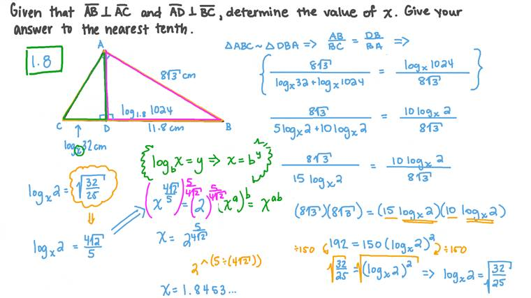 Forming and Solving Exponential Equations Involving Logarithms in a Geometric Context