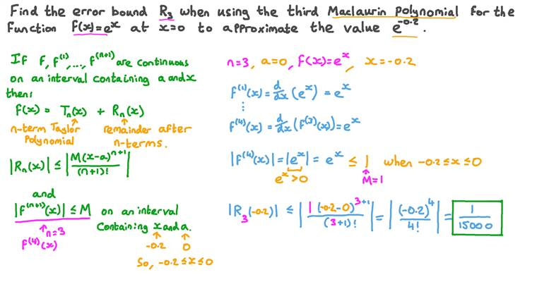 Finding the Error Bound for the Maclaurin Polynomial of the Exponential Function