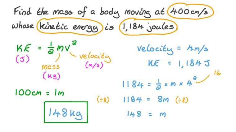 Détermination de la masse d'un corps en fonction de sa vitesse et de son énergie cinétique