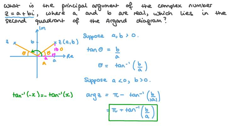 Finding the Principal Argument of a Complex Number Using its Location in the Argand Diagram