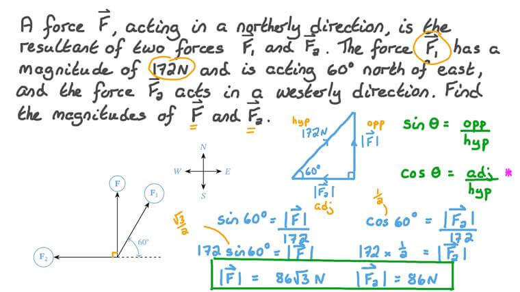 Finding the Magnitudes of Two Perpendicular Forces
