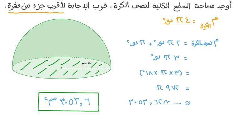 إيجاد مساحة السطح الكلية لنصف كرة بمعلومية نصف قطرها