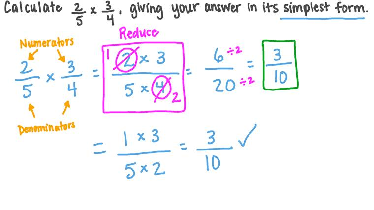 Finding in the Simplest Form the Result of Multiplying Two Fractions