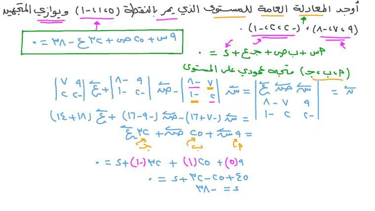 إيجاد المعادلة العامة لمستوى