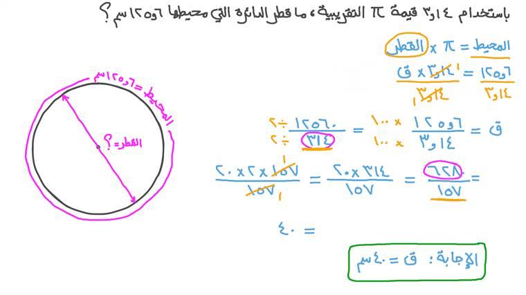 إيجاد قطر دائرة بمعلومية محيطها