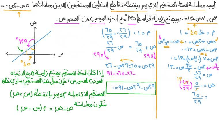 إيجاد معادلة خط مستقيم