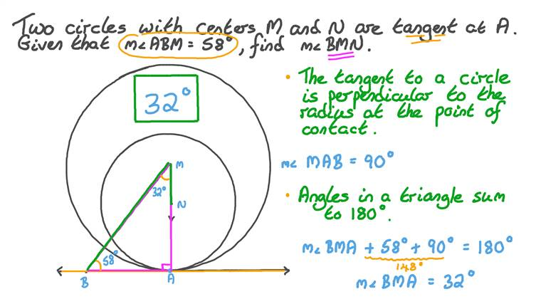 Using Tangent Theorems to Find the Measure of an Angle given Two Internally Touching Circles