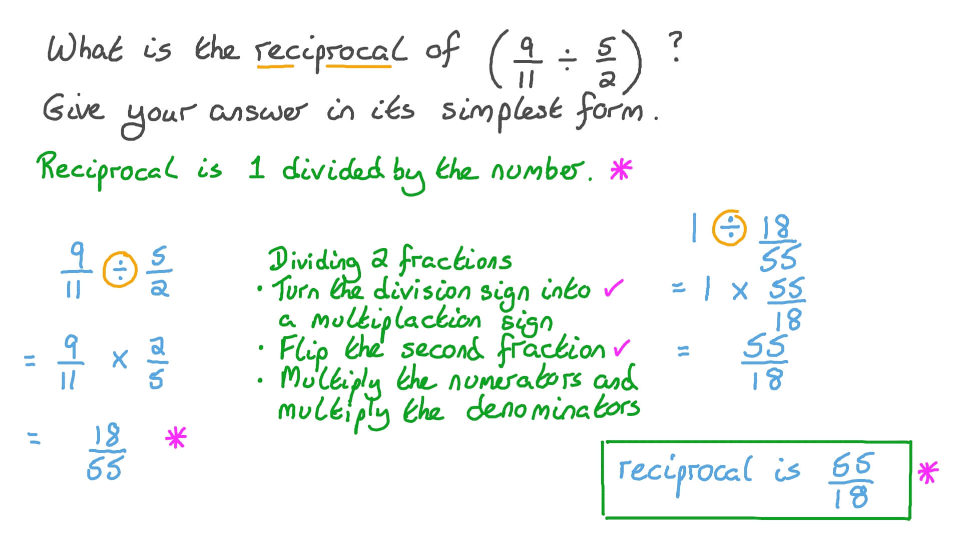 simplest form dividing fractions  Finding in the Simplest Form the Reciprocal of the Result of  Multiplying/Dividing Two Fractions