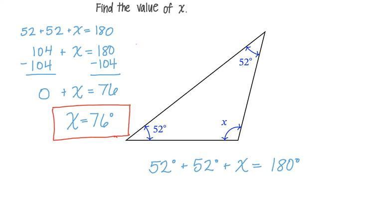 Finding the Measure of an Angle in a Triangle given the Other Two Angles' Measures