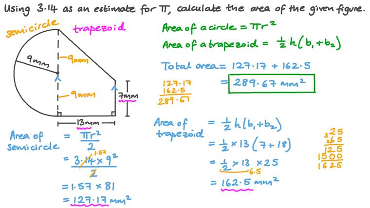 Finding the Area of a Composite Figure Consisting of a Trapezoid and a Semicircle