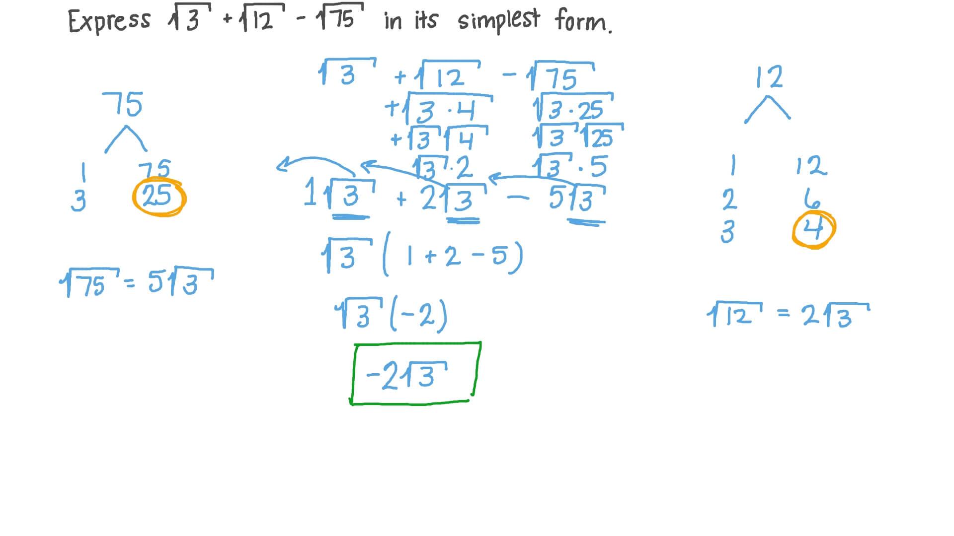 simplest form for 12/15  Simplificando Expressões Numéricas Utilizando as Propriedades das Raízes  Quadradas