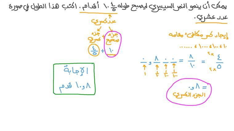 تحويل الأعداد الكسرية إلى أعداد عشرية في المسائل الكلامية