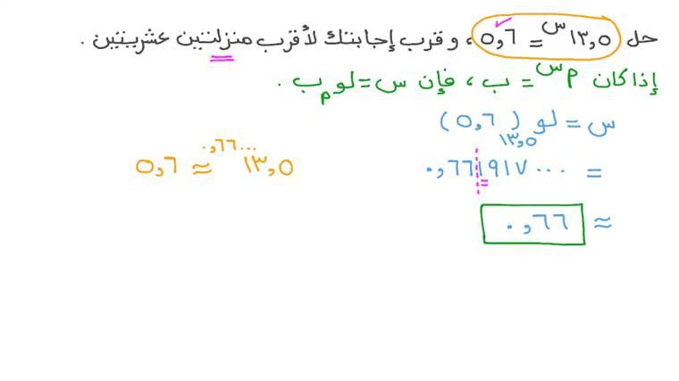 حل المعادلات الأسية